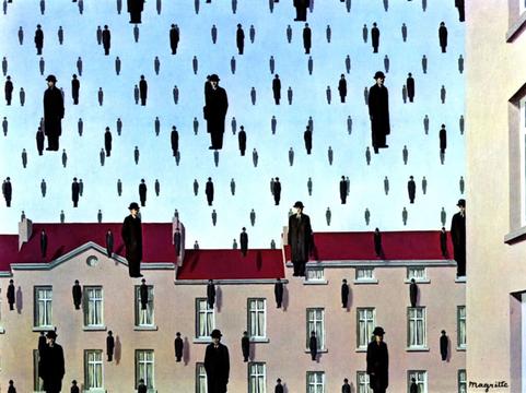 """""""Golconda"""", 1953, di René Magritte (Menil Collection, Houston, Texas)"""